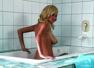Hot Blond Chick Taking A Bath