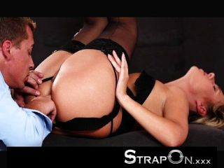 Strapon - Babe In Stocking And Suspenders Dp