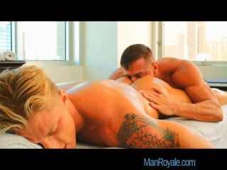 Sexy Gay Blonde Hunk Rubbed Down