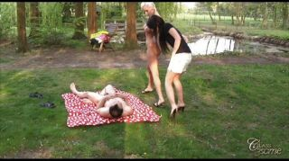 Teent And Milf Sharing Cock In Threesome