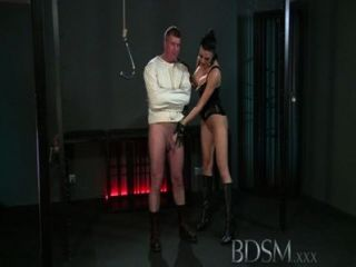 Bdsm Xxx Slave Boy In Straight Jacket And Anal Hook Swings Brick From His Balls To Please His Mistre