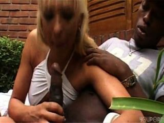 Interracial. Hot Blonde Shemale Love Black Cock And Eat Cum.