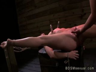 Tied Up Babe With Nipple Pumps Vibed And Fucked
