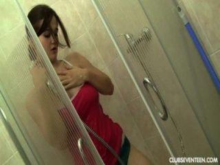 Busty Teen Masturbates In Shower
