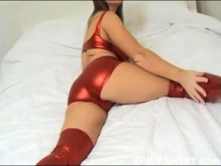 Cate Teasing In Shiny Red Pvc Panties