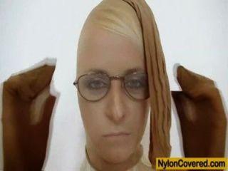 Slender Blond-haired Full In Nylons