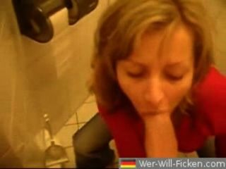 German Couple Sucks And Fucks In Toilette