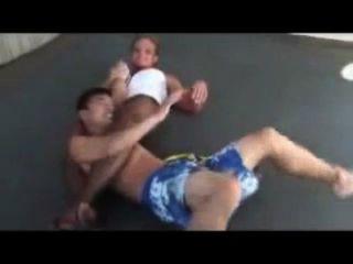 Mixed Wrestling Buff Girl Locks Weak Guy