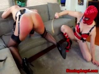 Masked Lesbian Spanks Ass Until Its Raw