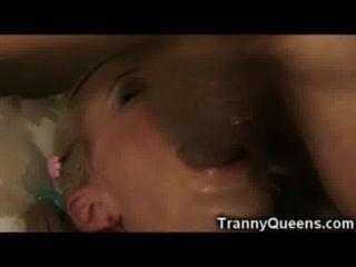Unexpected Tranny Self Facial!