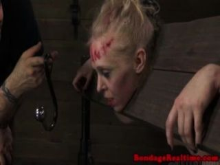 Blonde Sub Gets Hair Tied To A Buttplug