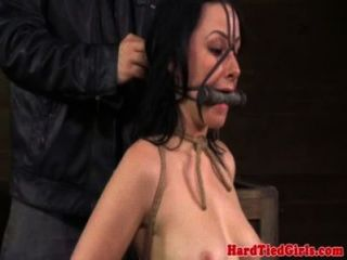 Mouth Gagged Skank Handles Nipple Clamps