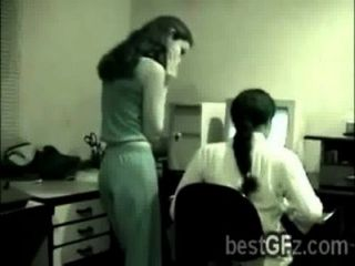 Stunning Brunette Lezzies Got Caught Going Naughty In Their Office