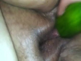 Black bbw cucumber anal play
