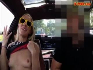 Tight Blonde Bimbo Tries To Sell Her Car Sells Herselfrself