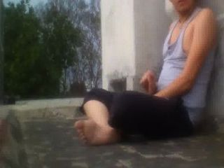 Public Jerking Roof Wanker Naked Outdoor Solo Wank
