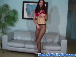 Hot Nylon Pantyhose Wearing Babe Strips