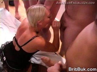 Incredible, A Tall British Model Blonde Loves Bukkake!