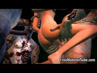 3d Cartoon Babe Gets Gang Banged By Some Zombies