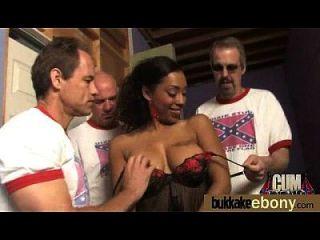 Hot Ebony Chick In Interracial Gangbang 14