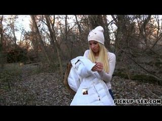 Amateur Blonde Kiara Flashes Boobs And Fucked In The Woods