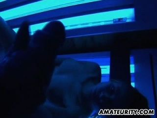 Amateur Teen Girlfriend Cumshot In Mouth In A Solarium