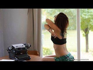 Marie Does Slow-motion Striptease In Sunroom.