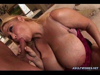 Blonde Slut With Massive Boobs Doing Blowjob