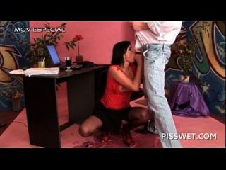 Brunette Piss Lover Pussy Nailed Hard On A Chair