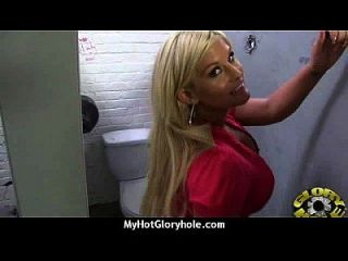 Ebony Sucks Off A Big Cock Through A Gloryhole 3