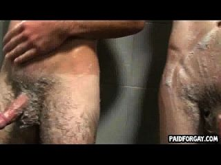Two Straight Hunks Showering Together For Money