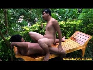 Asian Piss Lovers Barebacking Outdoors