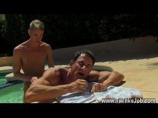 Gay Sex Daddy Poolside Prick Loving