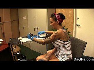 Beautiful Tattoo Artist Satisfying A Lucky