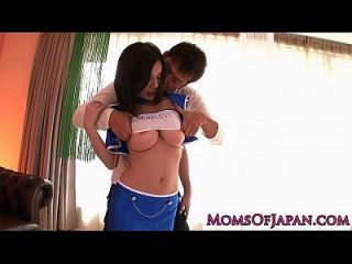 Costumed Japanese Milf Takes Jizz On Face
