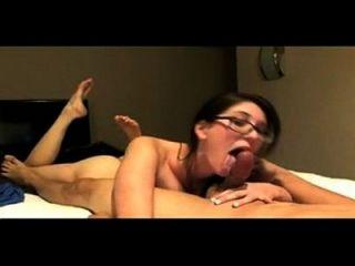 Nerdy Girl With Big Tits Sucks A Fat Cock- Decentcat.com