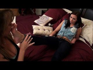 Mother Teaches Daughter Feet Worship