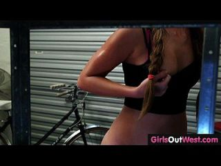 Girls Out West - Cute Amateur Lesbians In Bike Repair Shop