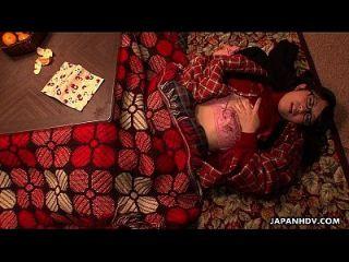 Nerdy Asian Teen Rubs Her Cunt Under The Blanket
