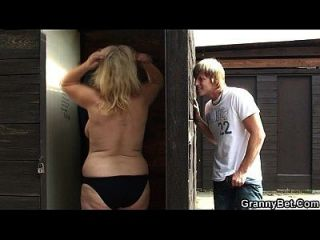 Busty Blonde Granny Slammed In The Public Changing Room