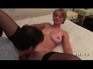 Gorgeous Amateur Big Boobed French Blonde Babe In Stockings Hard Anal Fucked