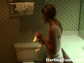 Young 18yo Teen Masturbates In Hotel Bathroom - Darlingcams.com