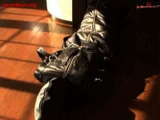 Ballgagged Asian Girl Tied Into A Leather Sleepsack Teased And Vibed