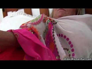 British And Big Boobed Grandma Isabel Rubs Her Old Clit