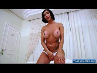 Booby Shemale Sabrina Suzuki Jerks Off