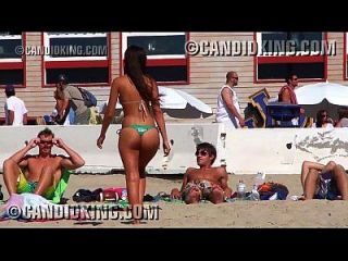 Perfect Latina Caught At The Beach In A Thong Bikini!