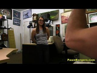 Nerdy Brunette Teen Sucks And Fucks For Cash
