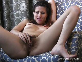 Kitty Bush Fingers Her Huge Hairy Pussy