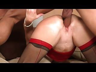 Blonde Mature In Red And Black Stockings Fucks