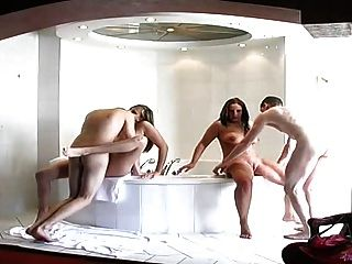 Hot Dutch Foursome In Bathroom